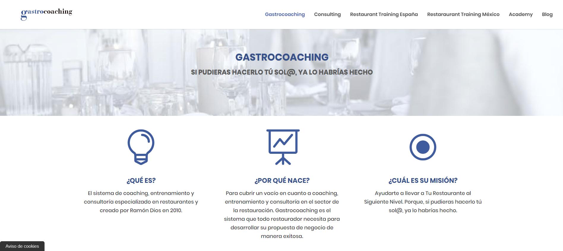 Los 6 mejores Blogs sobre hostelería y restauración. Página de bienvenida del Blog GastroCoaching