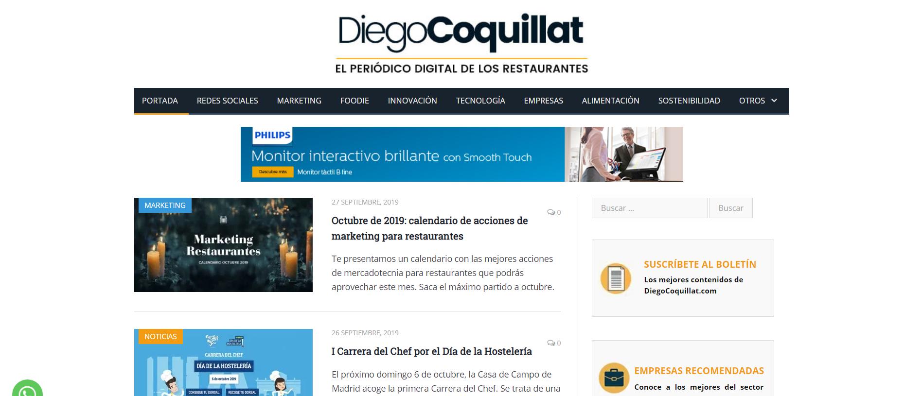 Los 6 mejores Blogs sobre hostelería y restauración. Diego Coquillat Blog portada